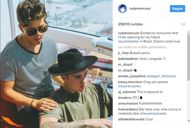 Rudy Mancuso e Justin Bieber (Foto: Reprodução/Instagram)