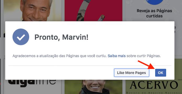 Finalizando o processo para descurtir páginas em massa no Facebook (Foto: Reprodução/Marvin Costa)