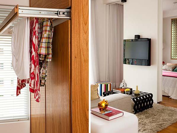 Na cozinha, que se estende até a lavanderia, o mobiliário planejado permitiu configurações funcionais, a exemplo do varal retrátil executado pela Marcenaria Il Legno (Foto: Edu Castello)