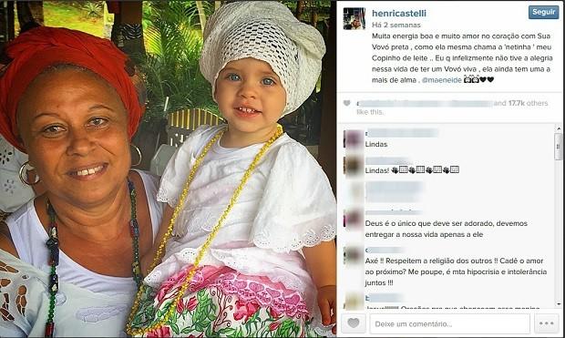 O ator Henri Castelli publicou uma foto da filha com Mãe Neide nas redes sociais há duas semanas (Foto: Reprodução/Instagram)