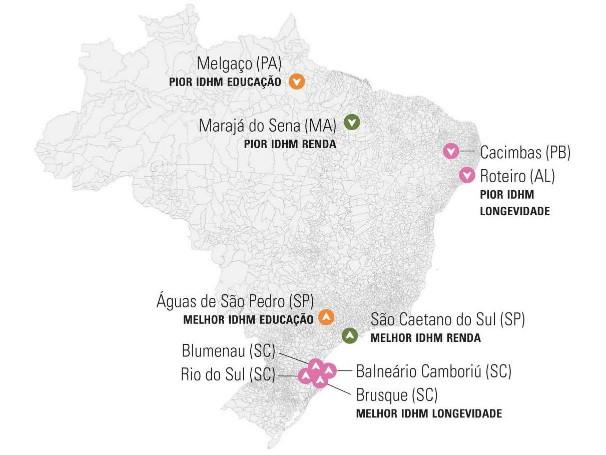 Melhores IDHMs 2013 - Atlas do Desenvolvimento Humano no Brasil (Foto: Divulgação/Atlas do Desenvolvimento Humano no Brasil)
