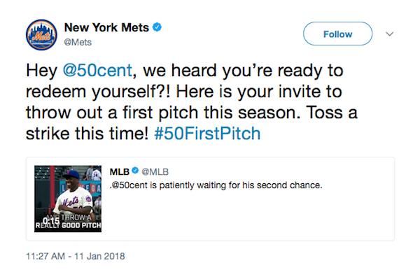 A piada feita no Twitter do New York Mets com o lançamento de 50 Cent (Foto: Twitter)