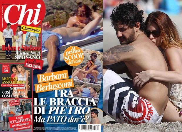 Capa da revista Chi (à esq), e Pato com Barbara no dia 12 de junho (Foto: Reprodução e Splash News)