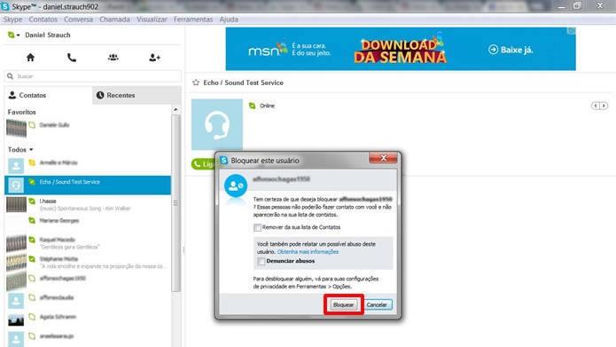 Para manter o usuário que será bloqueado em sua lista, mas  inacessível, aperte somente o botão Bloquear (Foto: Reprodução/Daniel Ribeiro)