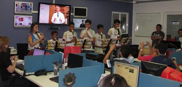 Crianças e adolescentes tocaram músicas clássicas e MPB (Foto: Laurivânia Fernandes/ Rede Clube)