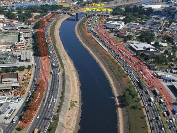 Segundo lote da obra de ampliação da Nova Marginal Tietê (Foto: Reprodução/Prefeitura de SP/Governo de SP)