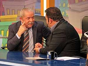 Lula no programa do Ratinho. (Foto: Marcelo Mora / G1)