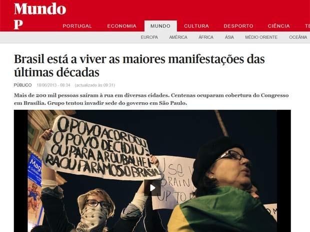 Jornal português fala sobre erupção brasileira (Foto: Reprodução/ público.pt)
