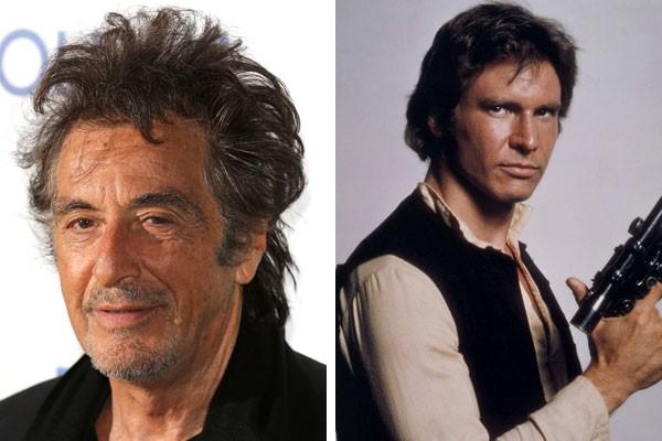 O ator Al Pacino e Harrison Ford como Han Solo (Foto: Getty Images/Reprodução)