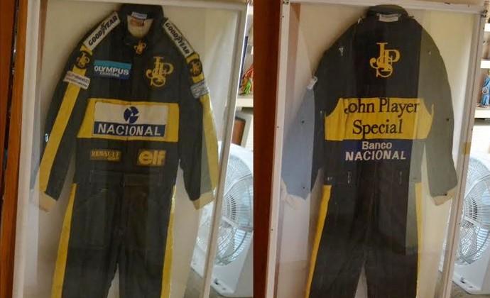 Montagem Macacão Ayrton Senna (Foto: Filipe Rodrigues)