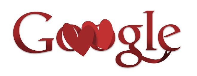Doodle do Dia dos Namorados de 2011 une corações como um cartão de presente (Foto: Reprodução/Google)