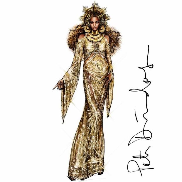 Croqui de um dos looks de Beyoncé (Foto: Reprodução/Peter Dundas)