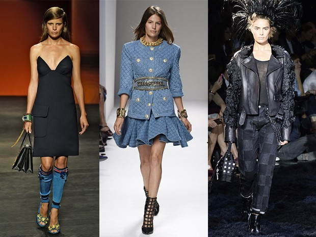 Prada, Balmain e Louis Vuitton, verão 2014 (Foto: Getty Images)