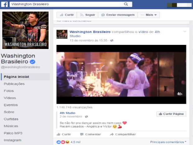 Cantor Washington Brasileiro compartilhou a publicação na página dele no Facebook (Foto: Reprodução/Facebbok)