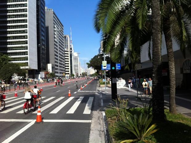 Avenida Paulista aberta para ciclistas e pedestres neste domingo (Foto: Vivian Reis/G1)
