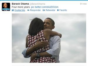 Presidente Obama comemora vitória no Twitter (Foto: Reprodução/Twitter)
