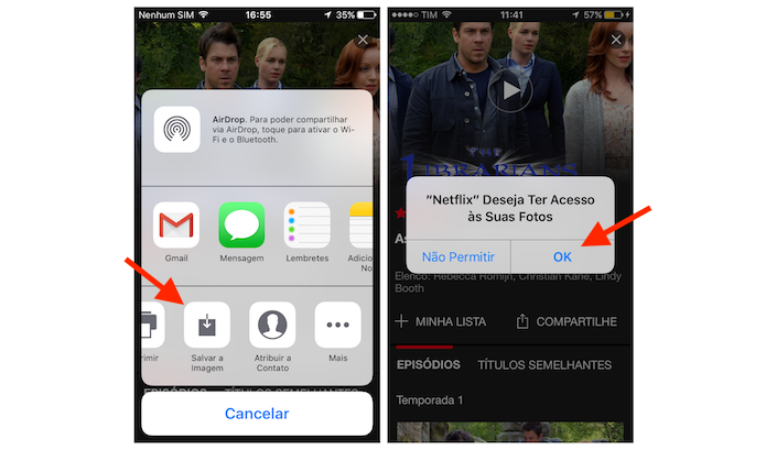 Baixando o poster de um filme ou série do Netflix para a biblioteca de imagens do iPhone (Foto: Reprodução/Marvin Costa)