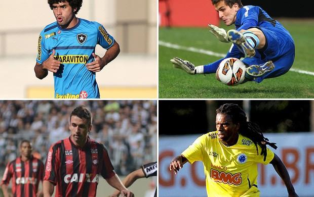 montagem Marcelo Grohe Grêmio Tinga Cruzeiro Elias Atlético-PR Bahia  Bruno Mendes Botafogo  (Foto: Editoria de Arte)