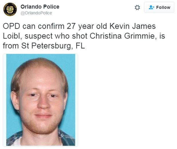 Kevin James Loibl, de 27 anos, se matou após atirar em Christina Grimmie (Foto: Reprodução/Twitter/OrlandoPolice)