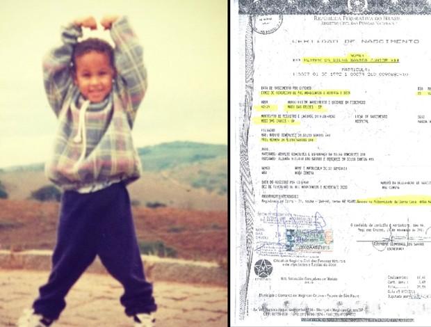 Neymar Junior e Certidão de Nascimento em Mogi das Cruzes (Foto: Reprodução)