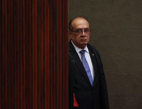 O ministro Gilmar Mendes durante o julgamento do processo que pede a cassação da chapa Dilma/Temer no TSE (Foto: Aílton de Freitas/Agência O Globo)