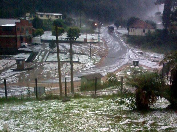 Granizo Santa Maria do Herval rs (Foto: Nilson de Souza/Arquivo Pessoal)
