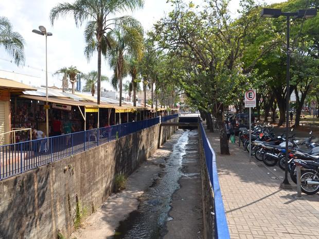 Córrego exala mau cheiro e perturba comerciantes em São Carlos (Foto: Orlando Duarte Neto/EPTV)