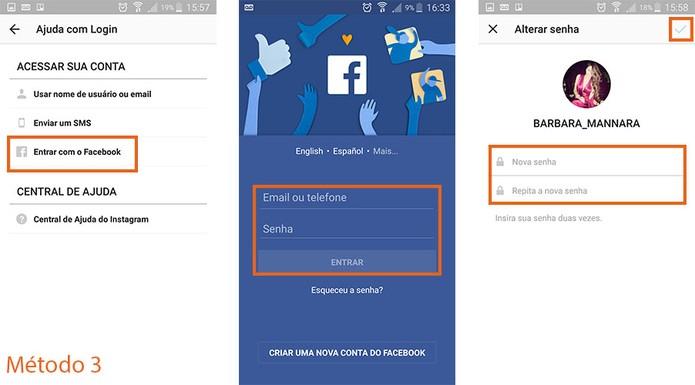 Você também pode usar o Facebook para autorizar a troca de senha no Instagram (Foto: Reprodução/Barbara Mannara) (Foto: Você também pode usar o Facebook para autorizar a troca de senha no Instagram (Foto: Reprodução/Barbara Mannara))