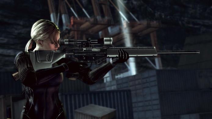 Jill Valentine empunha rifle no modo Desperate Escape de Resident Evil 5: Gold Edition (Reprodução/Resident Evil 5 Wikia)