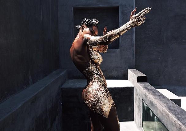 Teyana Taylor nos bastidores do clipe Champions freestyle (Foto: Reprodução/ Instagram)