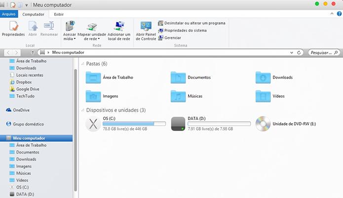 Windows Explorer, por exemplo, fica com a cara do Finder (Foto: Reprodução/Paulo Alves)