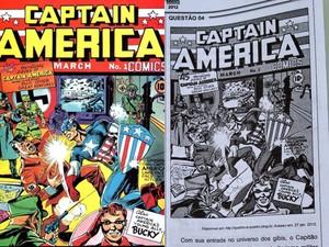 Prova de ciências humanas trouxe questão sobre o Capitão América (Foto: Reprodução)