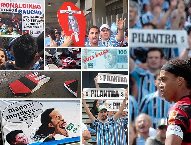 Montagem, Ronaldinho,Grêmio (Foto: Editoria de arte / Globoesporte.com)