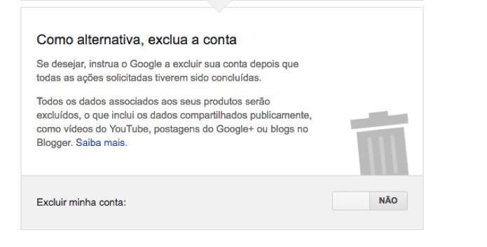 Opção para que o Google delete todos os dados referentes a conta (Foto: Reprodução/André Sugai)