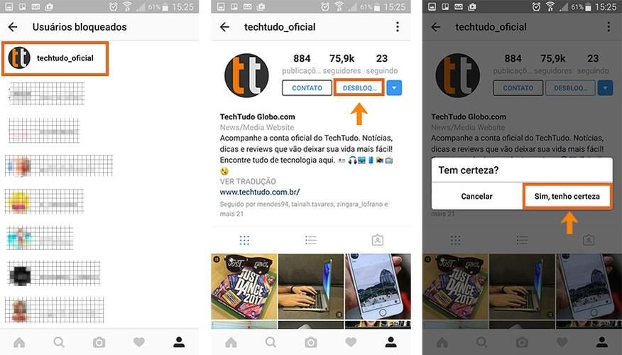 Se preferir desbloqueie a pessoa no Instagram pelo celular (Foto: Reprodução/Barbara Mannara)