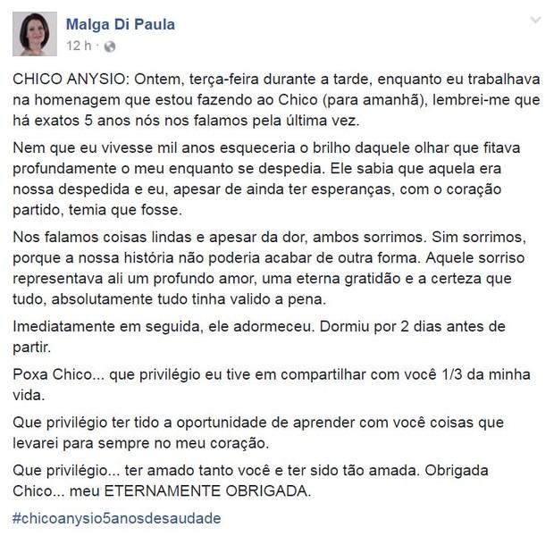 Texto escrito por Malga di Paula em homenagem a Chico Anysio (Foto: Reprodução/Facebook)