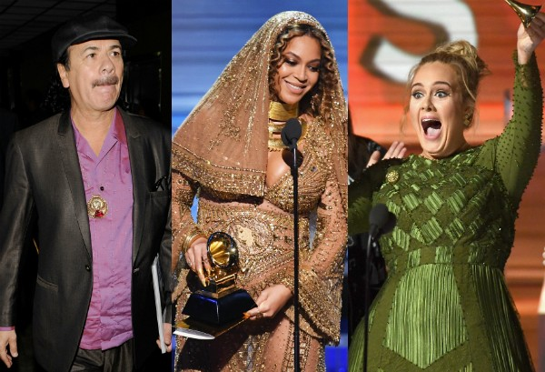 Santana, Beyoncé e Adele (Foto: Getty Images)