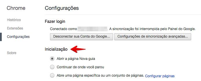 Selecionando a página inicial ao abrir o Chrome (Foto: Reprodução/Helito Bijora)