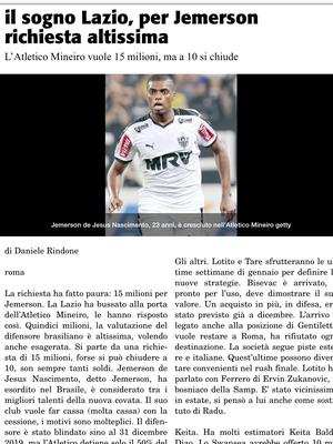 """Jemerson é sonho da Lazio, diz """"Corriere dello Sport"""" (Foto: Reprodução/Corriere dello Sport)"""