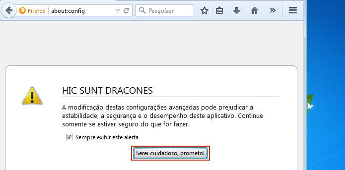 Confirme que será cuidados ao mudar as configurações do Firefox (Foto: Reprodução/Edivaldo Brito)