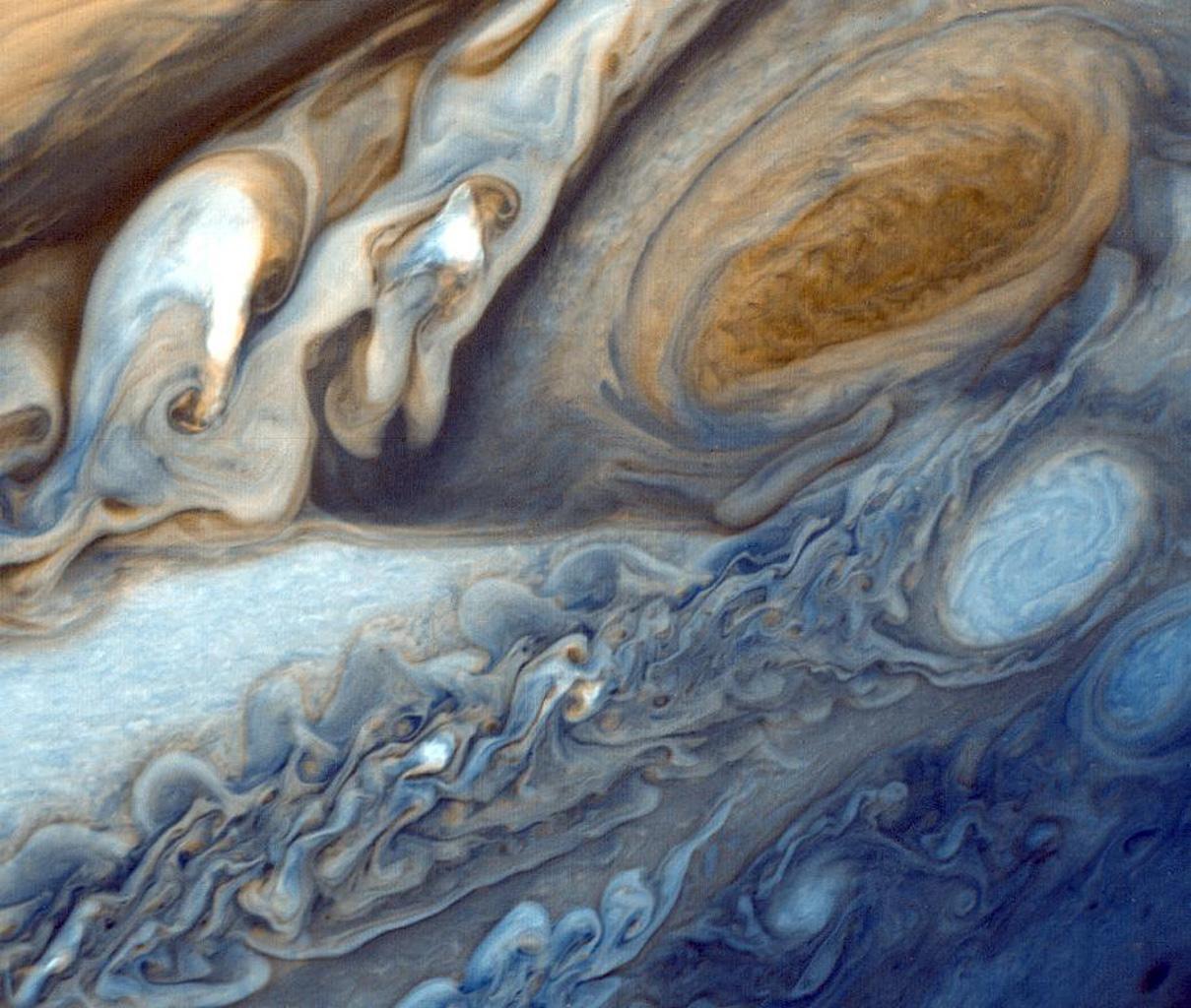 Nuvens da Grande Mancha Vermelha de Júpiter (Foto: NASA)
