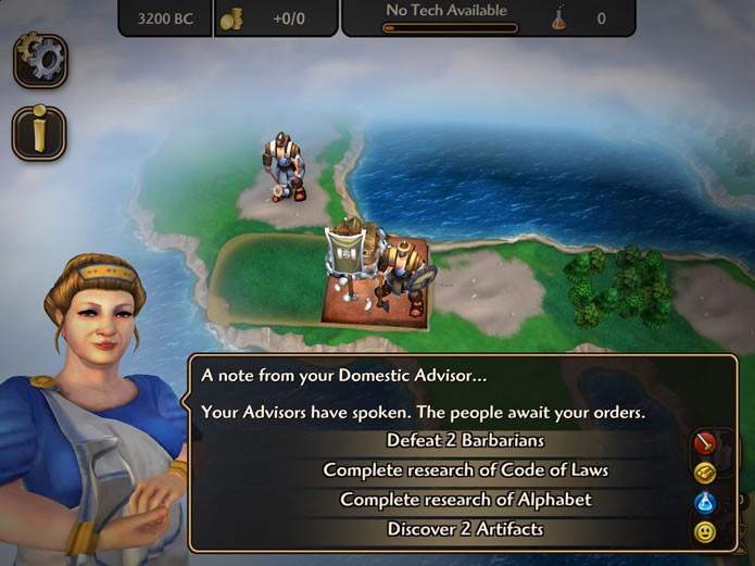 Seguindo a dinâmica dos últimos games da franquia, Civilization Revolution 2 também possui objetivos secundários para serem escolhidos (Foto: Reprodução/Daniel Ribeiro)