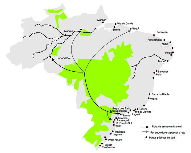 Rotas de embarque e área agrícola (em verde). (Foto: Colégio Qi)