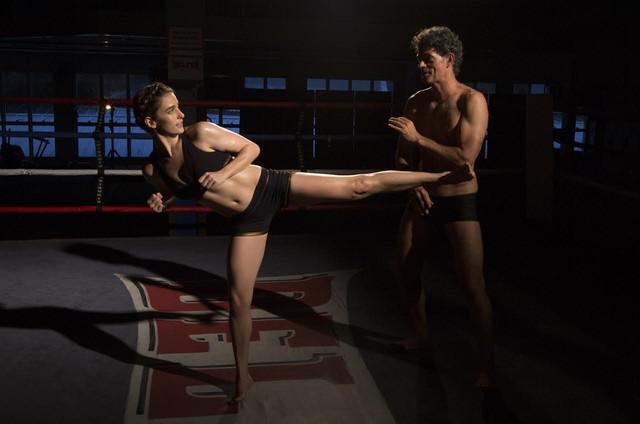 """Priscila Steinman com Eduardo Moscovis gravando uma cena de """"Questão de família (Foto: Desirée do Valle)"""