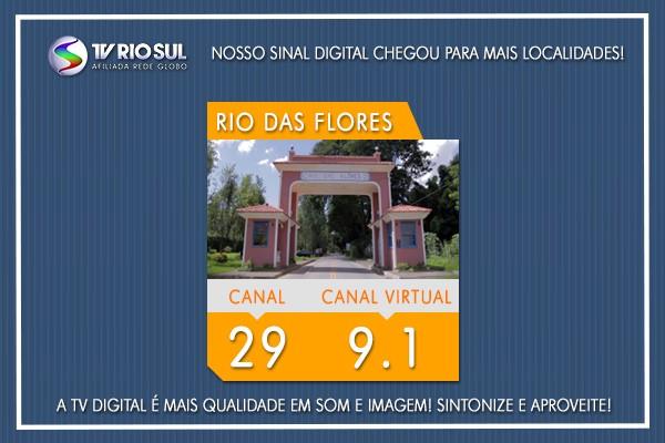 Para sintonizar a TV Rio Sul Digital em Rio das Flores, basta escolher o canal digital 29 ou o virtual 9.1  (Foto: TV Rio Sul)