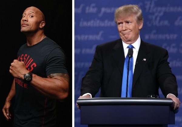 O ator Dwayne The Rock Johnson e o presidente dos EUA, Donald Trump (Foto: Getty Images)