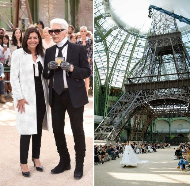 Karl Lagerfeld receives the Grand Vermeil award from Paris Mayor Anne Hidalgo (Foto: GORUNWAY)
