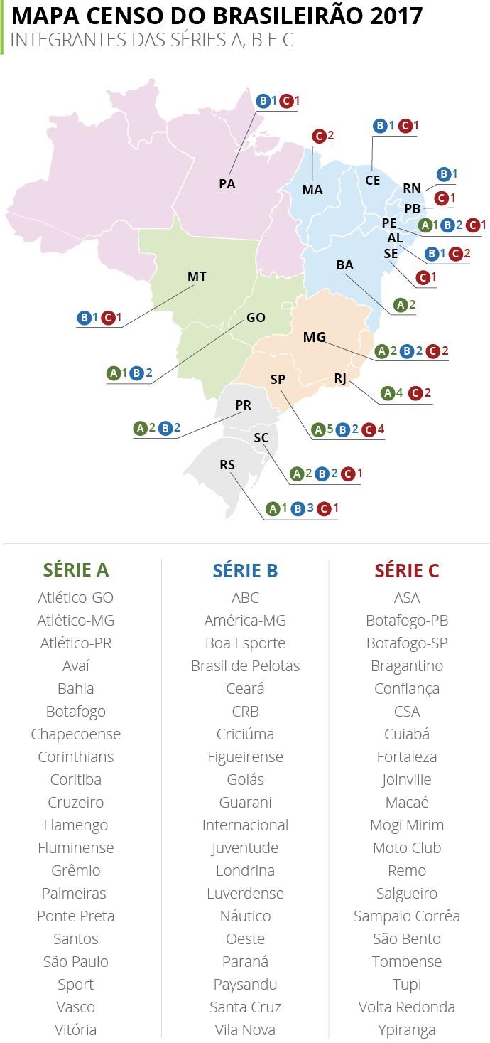 72f022adac Mapa do Brasileirão 2017  Rio volta a ter quatro na elite