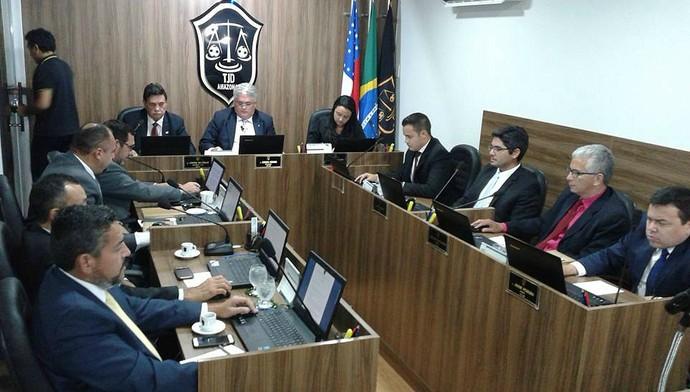 TJD pleno julgamento Manaus FC (Foto: Lissandro Windson/TJD-AM)
