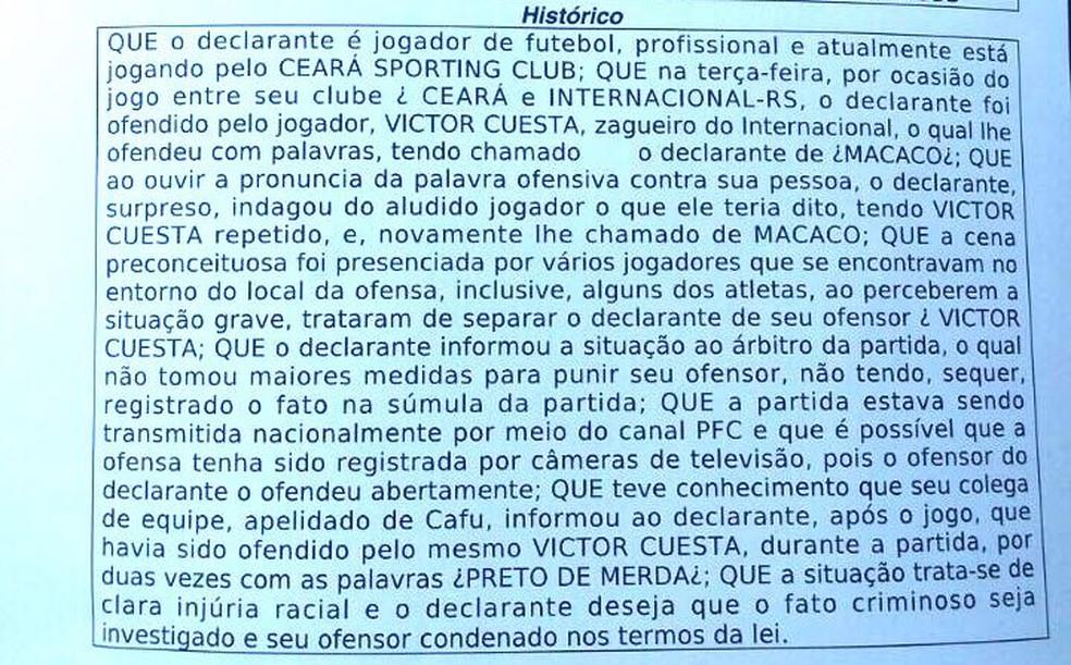 Boletim de ocorrência indica que o atacante Cafu, além de Élton, teria sofrido injúria racial de Cuesta (Foto: Ceará/Divulgação)